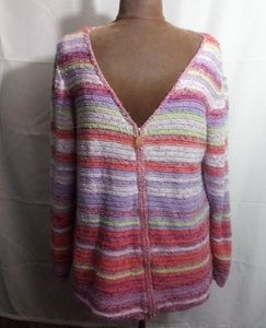 Coldwater creek colorful striped cardigan sweater